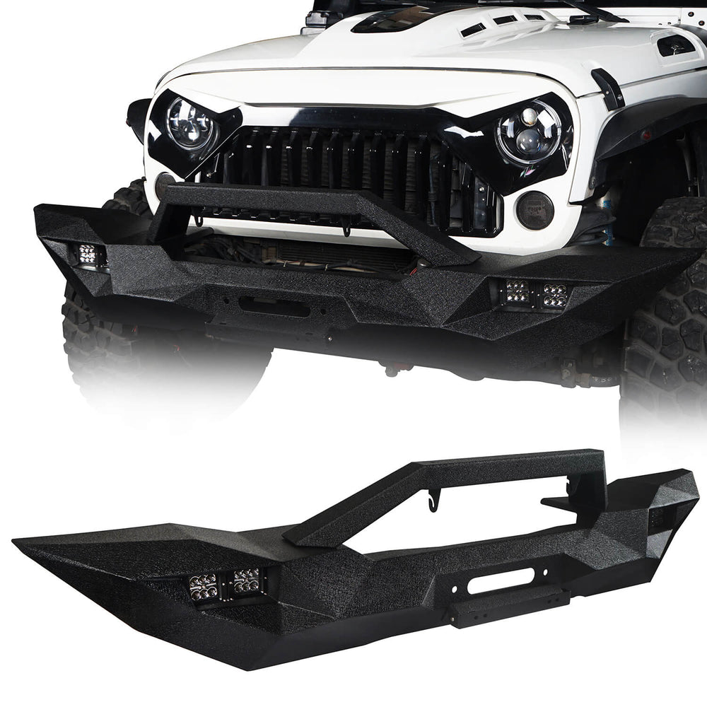 Hooke Road Opar Blade Master Full Width Front Bumper w/Winch Plate & License Plate for 2007-2018 Jeep Wrangler JK u-Box 1