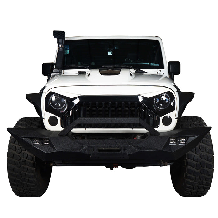 Hooke Road Opar Blade Master Full Width Front Bumper w/Winch Plate & License Plate for 2007-2018 Jeep Wrangler JK u-Box 2