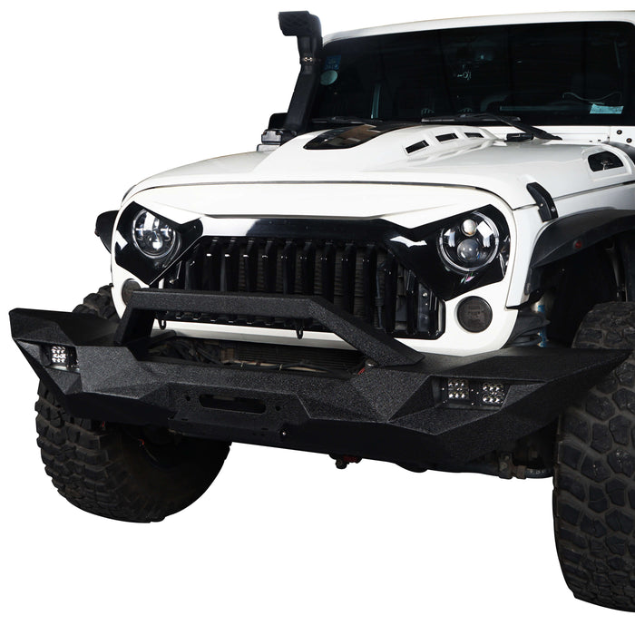 Hooke Road Opar Blade Master Full Width Front Bumper w/Winch Plate & License Plate for 2007-2018 Jeep Wrangler JK u-Box 3