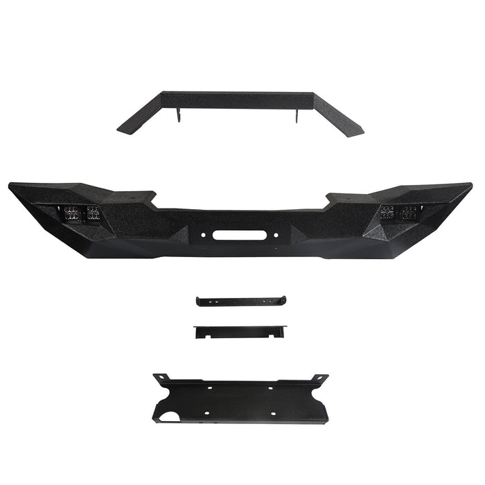 Hooke Road Opar Blade Master Full Width Front Bumper w/Winch Plate & License Plate for 2007-2018 Jeep Wrangler JK u-Box 6