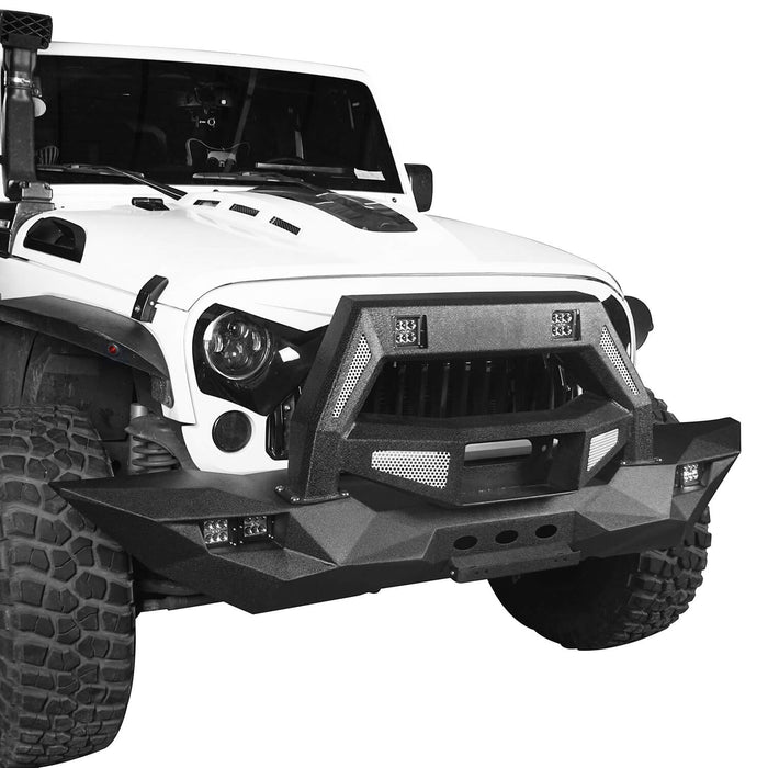 Hooke Road Opar DESTROYER Blade Full Width Front Bumper w/Bull Bar for 2007-2018 Jeep Wrangler JK u-Box 3