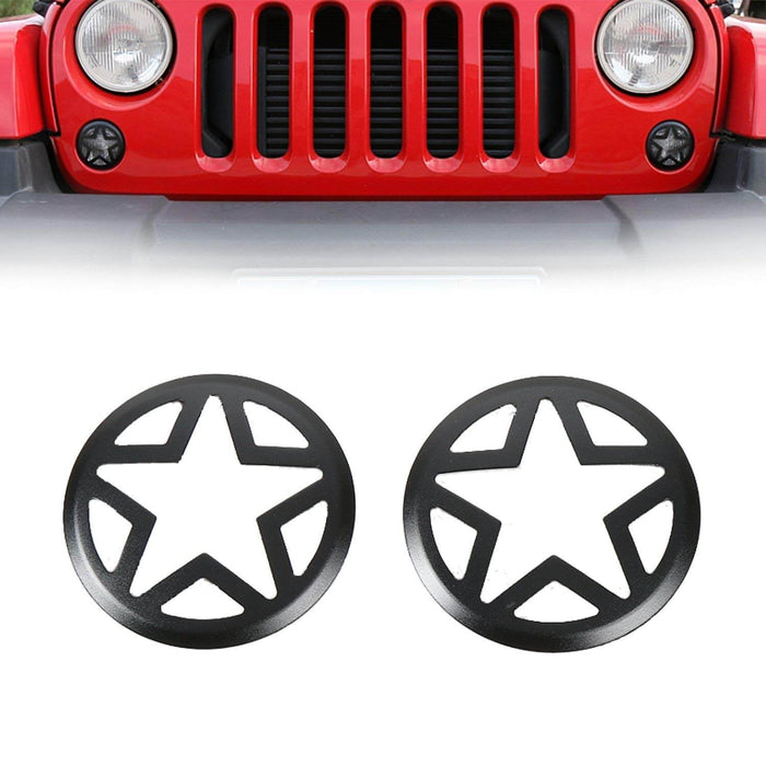 Hooke Road Opar Five Star Turn Signal Light Covers Guards for 2007-2018 Wrangler JK u-Box 1