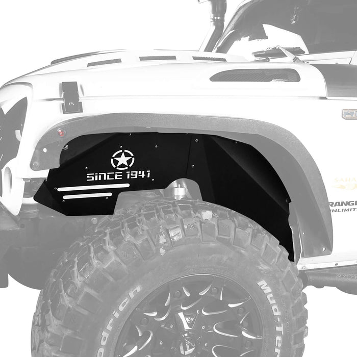 Hooke Road Opar Jeep JK Front Inner Fender Liners w/Since 1941 Logo for 2007-2018 Jeep Wrangler JK u-Box 2