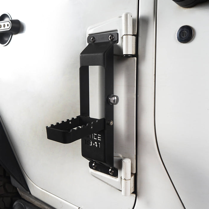 "Hooke Road Opar Matte Black Metal Folding Door Hinge Steps w/ ""Since 1941"" for 2007-2018 Jeep Wrangler JK u-Box 3"