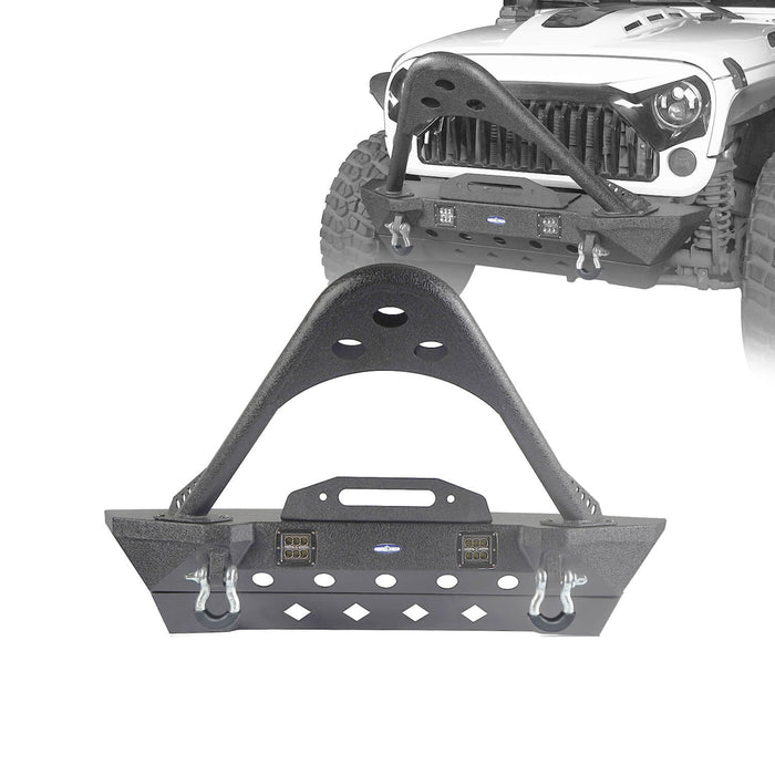 Hooke Road Opar Stubby Front Bumper w/Stinger & Winch Plate Mount w/ 2X 18W LED Spotlight for 2007-2018 Jeep Wrangler JK BXG185 u-Box offroad 2