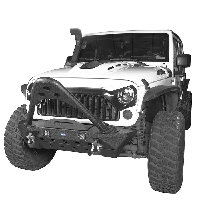 Hooke Road Opar Stubby Front Bumper w/Stinger & Winch Plate Mount w/ 2X 18W LED Spotlight for 2007-2018 Jeep Wrangler JK BXG185 u-Box offroad 3