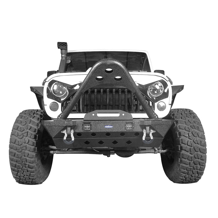 Hooke Road Opar Stubby Front Bumper w/Stinger & Winch Plate Mount w/ 2X 18W LED Spotlight for 2007-2018 Jeep Wrangler JK BXG185 u-Box offroad 4