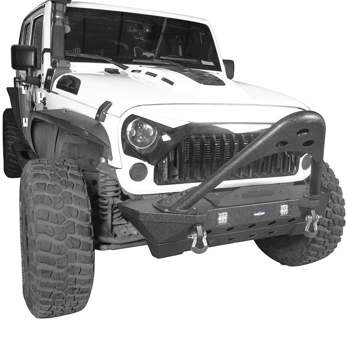 Hooke Road Opar Stubby Front Bumper w/Stinger & Winch Plate Mount w/ 2X 18W LED Spotlight for 2007-2018 Jeep Wrangler JK BXG185 u-Box offroad 5