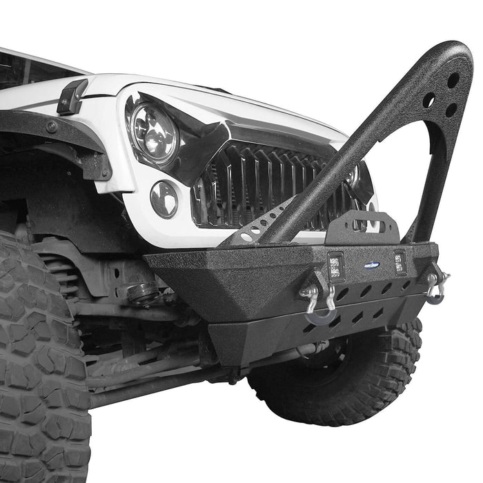 Hooke Road Opar Stubby Front Bumper w/Stinger & Winch Plate Mount w/ 2X 18W LED Spotlight for 2007-2018 Jeep Wrangler JK BXG185 u-Box offroad 6