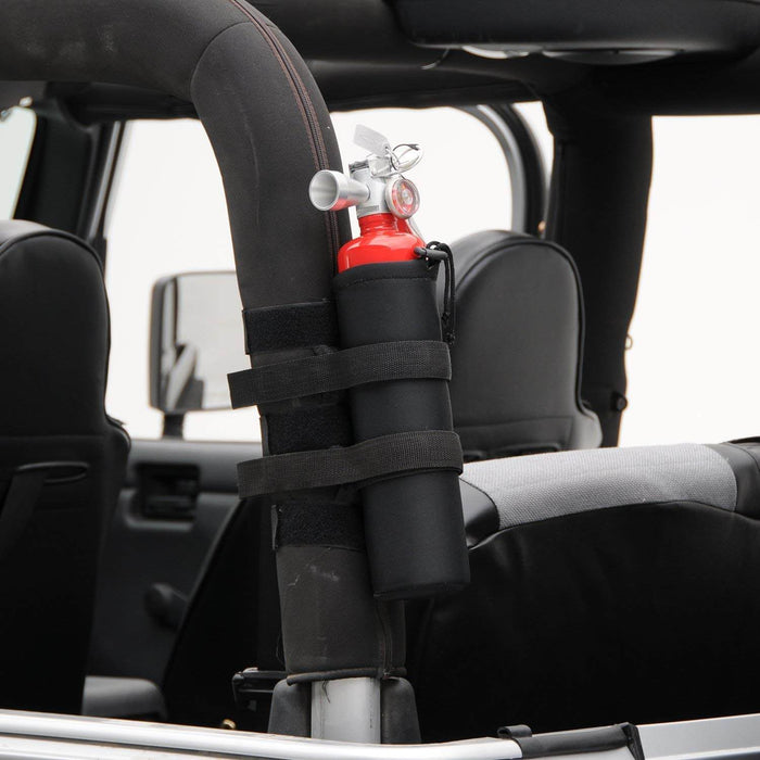 Hooke Road Opar Black Roll Bar Fire Extinguisher Holder for 2007-2018 Jeep Wrangler JK JKU u-Box 2