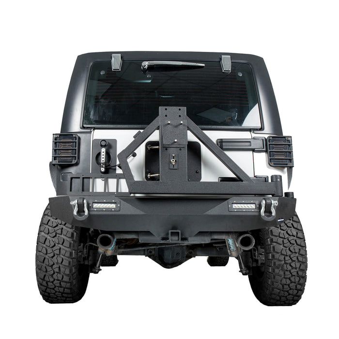 Hooke Road Opar Blade Front Bumper w/60W Work Light Bar & Different Trail Rear Bumper w/Tire Carrier Combo Kit for 2007-2018 Jeep Wrangler JK JKU BXG017b114 u-Box Offroad 11
