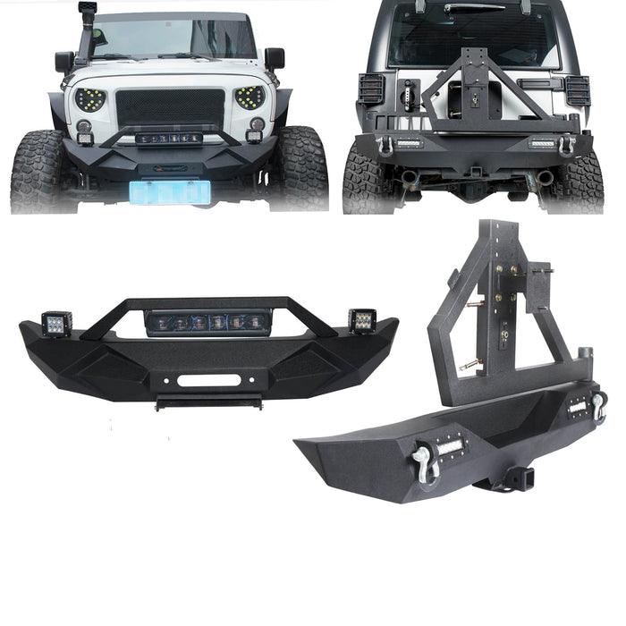 Hooke Road Opar Blade Front Bumper w/60W Work Light Bar & Different Trail Rear Bumper w/Tire Carrier Combo Kit for 2007-2018 Jeep Wrangler JK JKU BXG017b114 u-Box Offroad 2