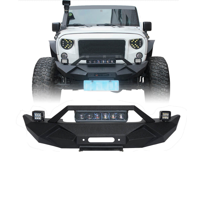 Hooke Road Opar Blade Front Bumper w/60W Work Light Bar & Different Trail Rear Bumper w/Tire Carrier Combo Kit for 2007-2018 Jeep Wrangler JK JKU BXG017b114 u-Box Offroad 4