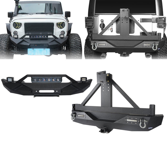 Hooke Road Blade Front Bumper w/60W Work Light Bar & Different Trail Rear Bumper w/Tire Carrier Combo Kit for 2007-2018 Jeep Wrangler JK JKU BXG017b115 u-Box Offroad 2