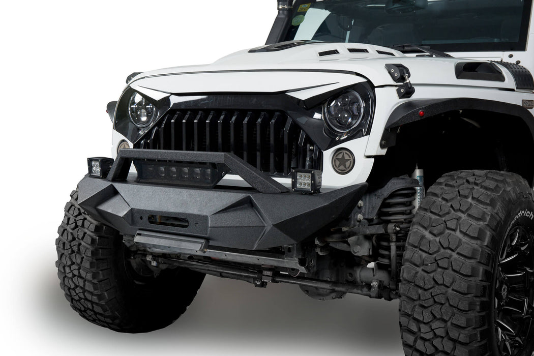 Hooke Road® Blade Stubby Front Bumper w/ 60W Work Light Bar & Different Trail Rear Bumper w/Tire Carrier Combo(07-18 Jeep Wrangler JK JKU)