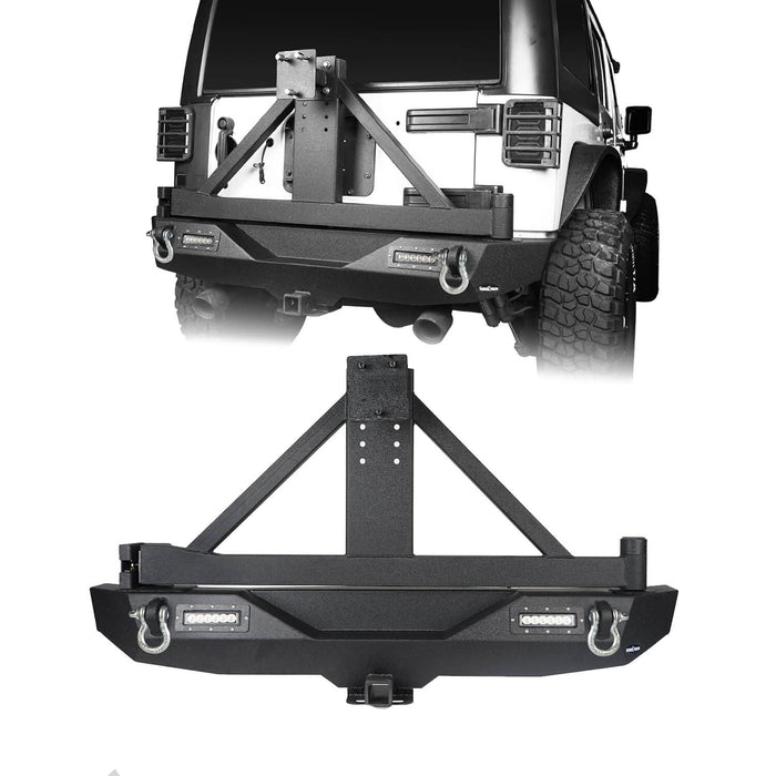 Hooke Road Blade Front Bumper w/60W Work Light Bar & Different Trail Rear Bumper w/Tire Carrier Combo Kit for 2007-2018 Jeep Wrangler JK JKU BXG017b115 u-Box Offroad 8