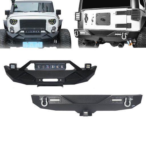 Hooke Road Blade Front Bumper w/60W Work Light Bar & Different Trail Rear Bumper Combo Kit for Jeep Wrangler JK JKU 2007-2018 BXG017b116 u-Box Offroad  2
