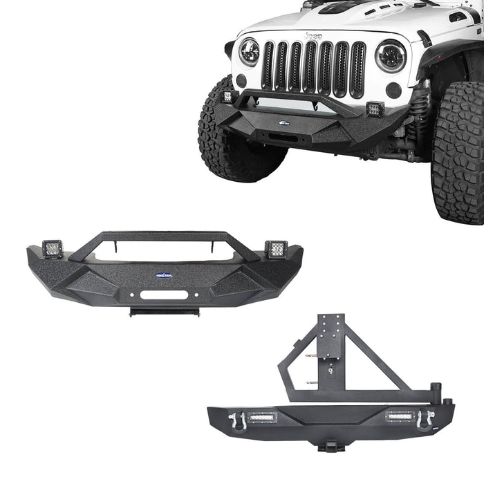 Hooke Road Blade Front Bumper and Different Trail Rear Bumper Combo for 2007-2018 Jeep Wrangler JK Jeep JK Front and Rear Bumper Combo u-Box Offroad 2