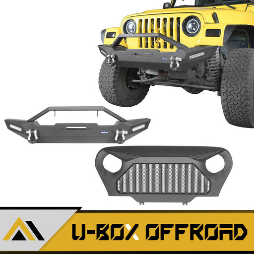 Blade Stubby Front Bumper & Gladiator Grille Guard Combo Kit(97-06 Jeep Wrangler TJ)