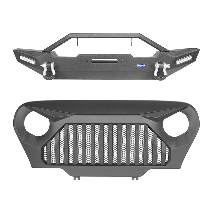 Hooke Road Blade Master Front Bumper and Gladiator Grille Cover Combo for Jeep Wrangler TJ 1997-2006 MMR0276BXG145 u-Box Offroad 3