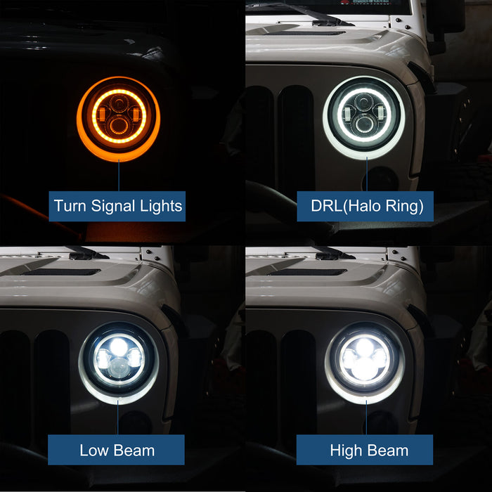 Hooke Road Jeep TJ JK 7 inch LED Headlights with White Halo Ring Angel Eyes for Jeep Wrangler TJ JK 1997-2018 mmrz010 Accessories 5