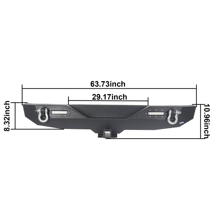 Hooke Road® Climber Full width Front Bumper & Different Trail Rear Bumper Combo(07-18 Jeep Wrangler JK JKU)