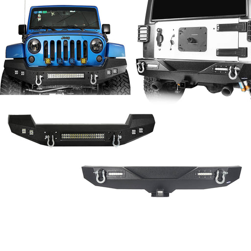 Hooke Road Opar Climber Front Bumper & Different Trail Rear Bumper Combo Kit for Jeep Wrangler JK JKU 2007-2018 u-Box Offroad 2