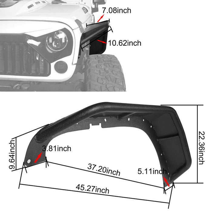 Hooke Road Opar Flux Tubular Fender Flares For Jeep Wrangler JK 2007-2018 Jeep JK Parts BXG089 u-Box offroad 11