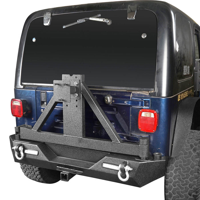 Hooke Road Different Trail Front Bumper and Explorer Rear Bumper Combo with Tire Carrier for Jeep Wrangler TJ 1997-2006 BXG130149 Jeep TJ Front and Rear Bumper Combo u-Box Offroad 10