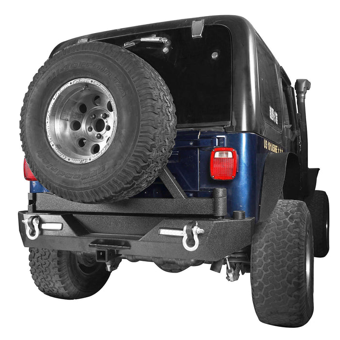 Hooke Road Different Trail Front Bumper and Explorer Rear Bumper Combo with Tire Carrier for Jeep Wrangler TJ 1997-2006 BXG130149 Jeep TJ Front and Rear Bumper Combo u-Box Offroad 11