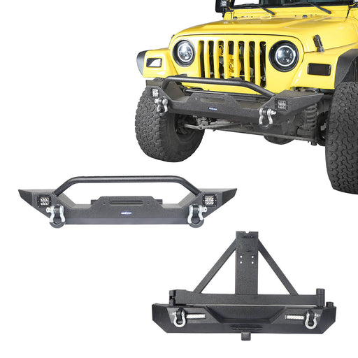 Hooke Road Different Trail Front Bumper and Explorer Rear Bumper Combo with Tire Carrier for Jeep Wrangler TJ 1997-2006 BXG130149 Jeep TJ Front and Rear Bumper Combo u-Box Offroad 2