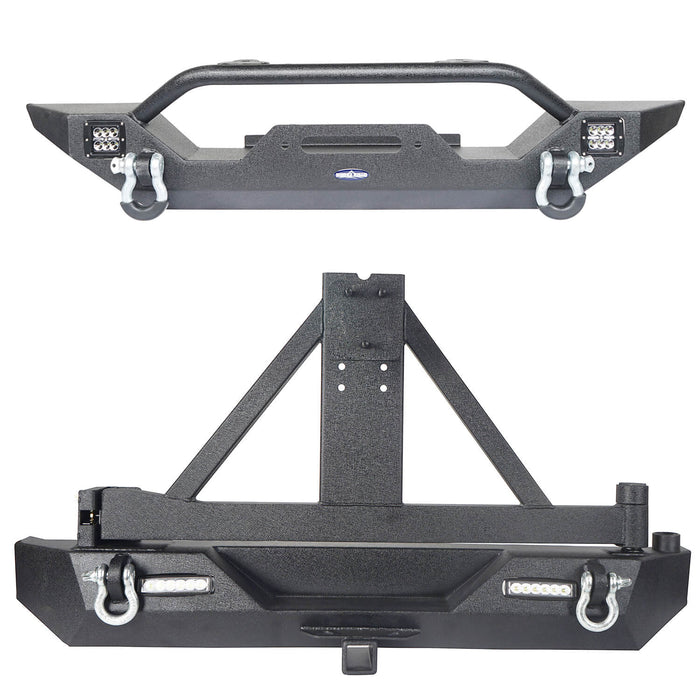 Hooke Road Different Trail Front Bumper and Explorer Rear Bumper Combo with Tire Carrier for Jeep Wrangler TJ 1997-2006 BXG130149 Jeep TJ Front and Rear Bumper Combo u-Box Offroad 3