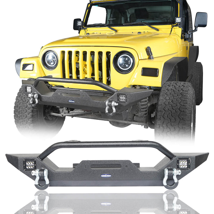 Hooke Road Different Trail Front Bumper and Explorer Rear Bumper Combo with Tire Carrier for Jeep Wrangler TJ 1997-2006 BXG130149 Jeep TJ Front and Rear Bumper Combo u-Box Offroad 4