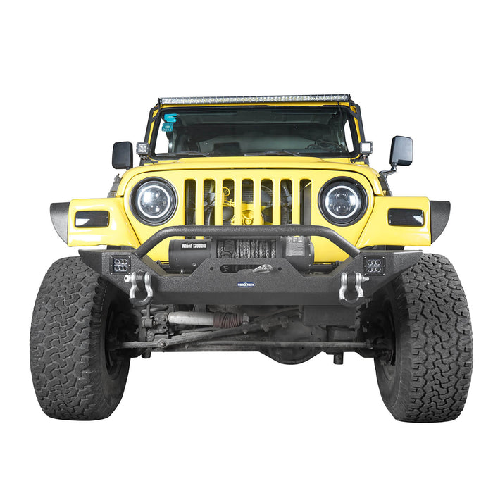 Hooke Road Different Trail Front Bumper and Explorer Rear Bumper Combo with Tire Carrier for Jeep Wrangler TJ 1997-2006 BXG130149 Jeep TJ Front and Rear Bumper Combo u-Box Offroad 5