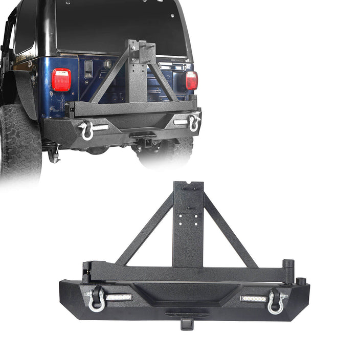 Hooke Road Different Trail Front Bumper and Explorer Rear Bumper Combo with Tire Carrier for Jeep Wrangler TJ 1997-2006 BXG130149 Jeep TJ Front and Rear Bumper Combo u-Box Offroad 8