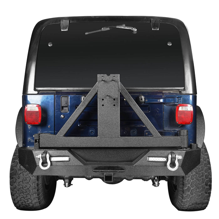 Hooke Road Different Trail Front Bumper and Explorer Rear Bumper Combo with Tire Carrier for Jeep Wrangler TJ 1997-2006 BXG130149 Jeep TJ Front and Rear Bumper Combo u-Box Offroad 9