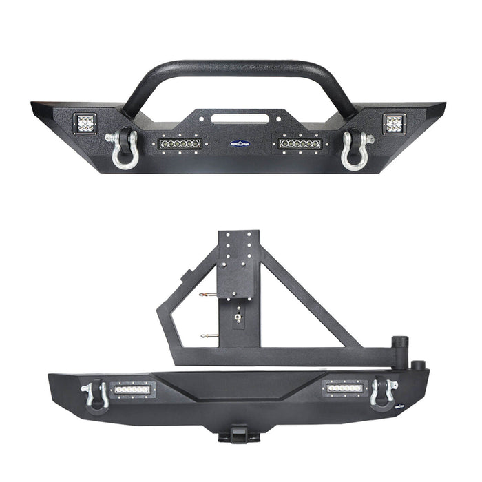 Hooke Road Jeep JK  Front and Rear Bumper Combo for 2007-2018 Jeep Wrangler JK Different Trail Rear Bumper with Tire Carrier JK Front and Rear Bumper Package u-Box Offroad 3