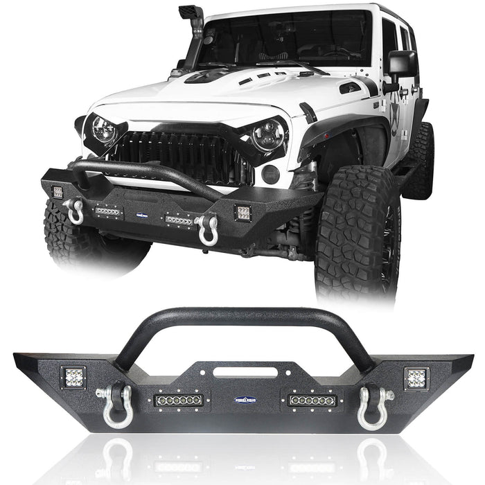 Hooke Road Jeep JK  Front and Rear Bumper Combo for 2007-2018 Jeep Wrangler JK Different Trail Rear Bumper with Tire Carrier JK Front and Rear Bumper Package u-Box Offroad 4