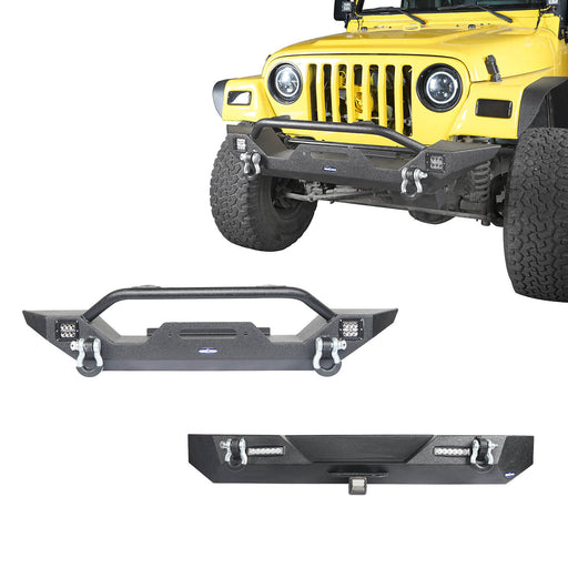 Hooke Road Different Trail Front Bumper and Rear Bumper Combo for Jeep Wrangler YJ TJ 1987-2006 BXG120149 Jeep TJ Front and Rear Bumper Combo u-Box Offroad 2