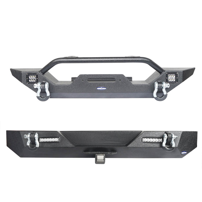 Hooke Road Different Trail Front Bumper and Rear Bumper Combo for Jeep Wrangler YJ TJ 1987-2006 BXG120149 Jeep TJ Front and Rear Bumper Combo u-Box Offroad 3