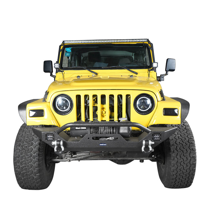 Hooke Road Jeep TJ bumper Different Trail Front Bumper w/Winch Plate for Jeep Wrangler TJ YJ 1987-2006 3