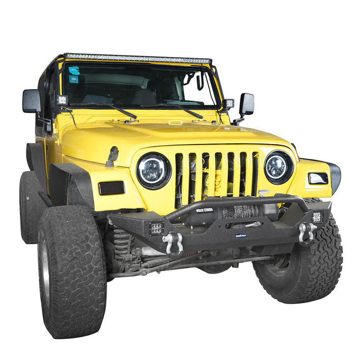 Hooke Road Jeep TJ bumper Different Trail Front Bumper w/Winch Plate for Jeep Wrangler TJ YJ 1987-2006 5