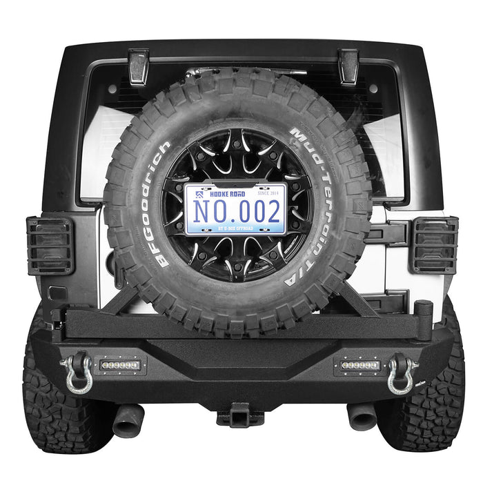 Hooke Road Jeep JK Front and Rear Bumper Combo for 2007-2018 Jeep Wrangler JK Hooke Road Different Trail Front Bumper Rear Bumper with Tire Carrier JK Front and Rear Bumper Package u-Box Offroad 10