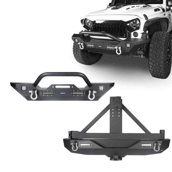 Hooke Road Jeep JK Front and Rear Bumper Combo for 2007-2018 Jeep Wrangler JK Hooke Road Different Trail Front Bumper Rear Bumper with Tire Carrier JK Front and Rear Bumper Package u-Box Offroad 2