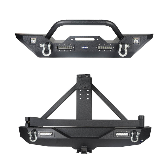 Hooke Road Jeep JK Front and Rear Bumper Combo for 2007-2018 Jeep Wrangler JK Hooke Road Different Trail Front Bumper Rear Bumper with Tire Carrier JK Front and Rear Bumper Package u-Box Offroad 3