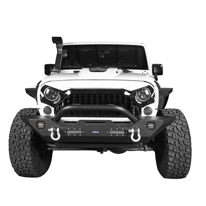 Hooke Road Jeep JK Front and Rear Bumper Combo for 2007-2018 Jeep Wrangler JK Hooke Road Different Trail Front Bumper Rear Bumper with Tire Carrier JK Front and Rear Bumper Package u-Box Offroad 5