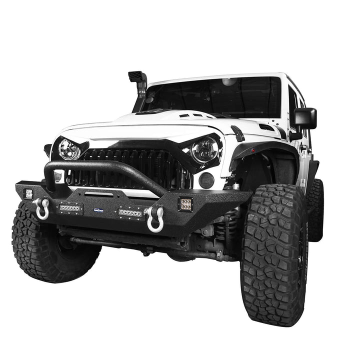 Hooke Road Jeep JK Front and Rear Bumper Combo for 2007-2018 Jeep Wrangler JK Hooke Road Different Trail Front Bumper Rear Bumper with Tire Carrier JK Front and Rear Bumper Package u-Box Offroad 6