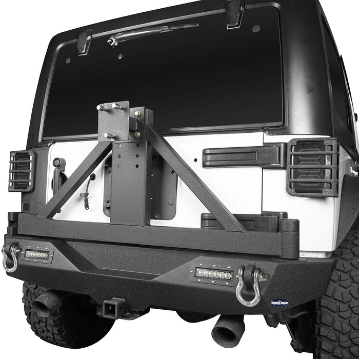 Hooke Road Jeep JK Front and Rear Bumper Combo for 2007-2018 Jeep Wrangler JK Hooke Road Different Trail Front Bumper Rear Bumper with Tire Carrier JK Front and Rear Bumper Package u-Box Offroad 9