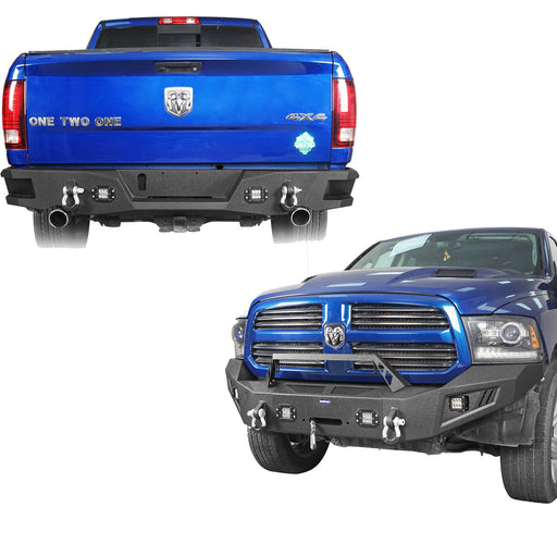 Hooke Road Dodge Ram Full Width Front Bumper & Rear Bumper(13-18 Dodge Ram,Excluding Rebel)