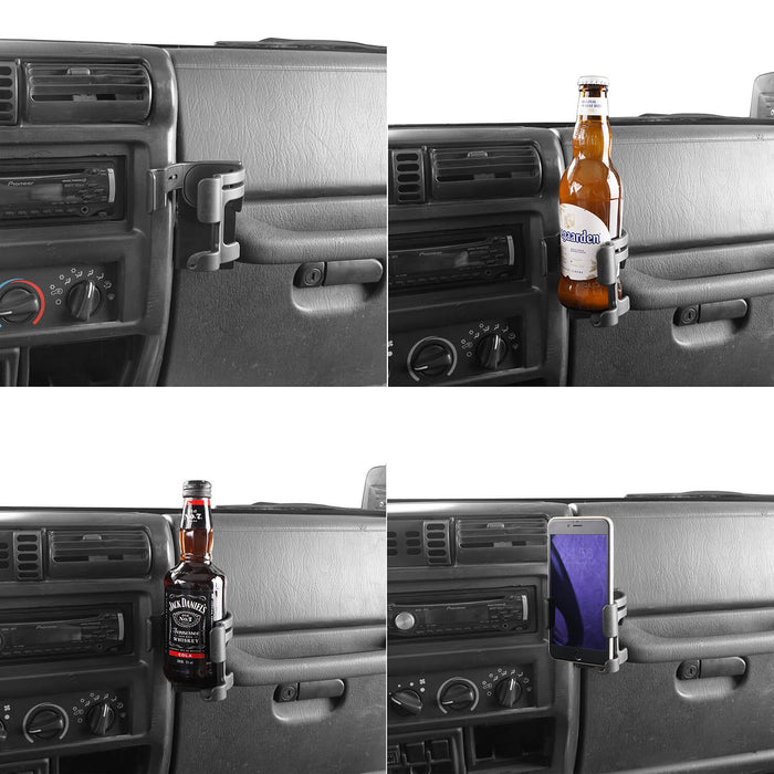 Hooke Road Drink Cup Holder Cell Phone Mount Bracket for Jeep Wrangler TJ 1997-2006 MMR1785 u-Box offroad 3